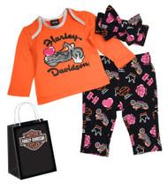 Harley-Davidson Baby Girls' Glittery Newborn 3-Piece Gift Set w/Gift Bag 2503917 - Wisconsin Harley-Davidson