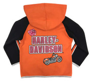 Harley-Davidson Little Girls' 2-Piece Fleece Jogger Set, Orange & Black 2023927 - Wisconsin Harley-Davidson