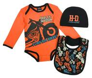 Harley-Davidson Baby Boys' Bike 3-piece Newborn Creeper Set w/ Hat & Bib 2553905 - Wisconsin Harley-Davidson
