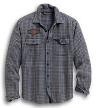 Harley-Davidson Men's H-D Plaid Slim Long Sleeve Woven Shirt - Gray 99008-20VM - Wisconsin Harley-Davidson