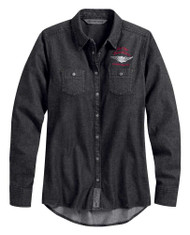 Harley-Davidson Women's #1 Denim Long Sleeve Casual Shirt - Black 99035-20VW - Wisconsin Harley-Davidson