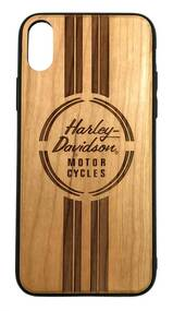 Harley-Davidson Engraved H-D Wooden iPhone X/XS Phone Shell, Brown 7928 - Wisconsin Harley-Davidson