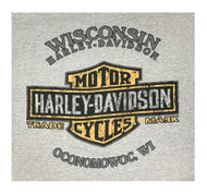 Harley-Davidson Mens Double Image Long Sleeve Chest Pocket T-Shirt, Heather Gray - Wisconsin Harley-Davidson