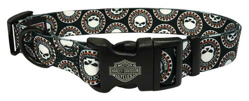 Harley-Davidson 1 in. Adjustable Willie G Skull Dog Collar - LG 26 in. Black - Wisconsin Harley-Davidson