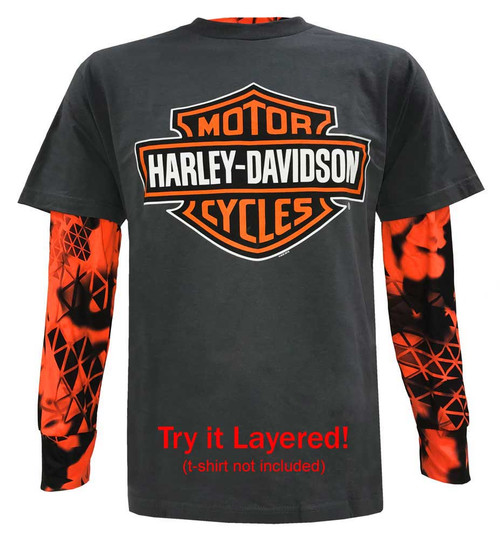 Harley-Davidson Men's Got Power Performance Long Sleeve Shirt, Safety Orange - Wisconsin Harley-Davidson
