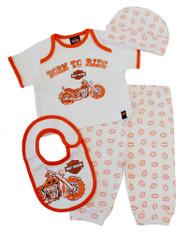 Harley-Davidson Baby Boys' 4 Piece Boxed Gift Set, Top, Pant, Hat, Bib 0352472 - Wisconsin Harley-Davidson