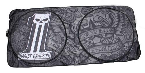 Harley-Davidson #1 Skull Logo Spring Style Sun Shade Universal Fit Black P3649 - Wisconsin Harley-Davidson