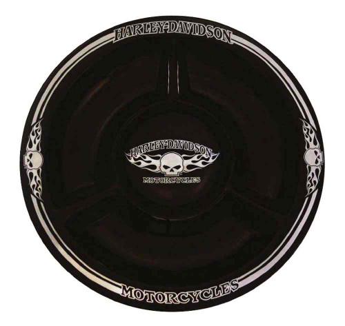 Harley-Davidson Chip N Dip Flaming Willie G Skull Ceramic Plate, 12 In HD-HD-902 - Wisconsin Harley-Davidson