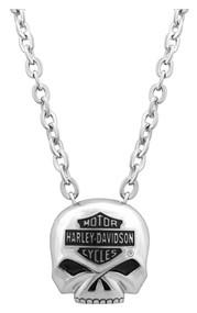 Harley-Davidson Mens Bar & Shield Skull Necklace Stainless Steel 22'' HSN0024-22 - Wisconsin Harley-Davidson