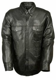 Leather King Men's Lambskin Leather Shirt w/ Snap Down Collar LKM1600 - Wisconsin Harley-Davidson