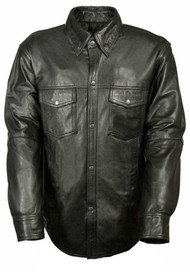Leather King Men's Lambskin Leather Shirt w/ Snap Down Collar LKM1600 - Wisconsin Harley-Davidson