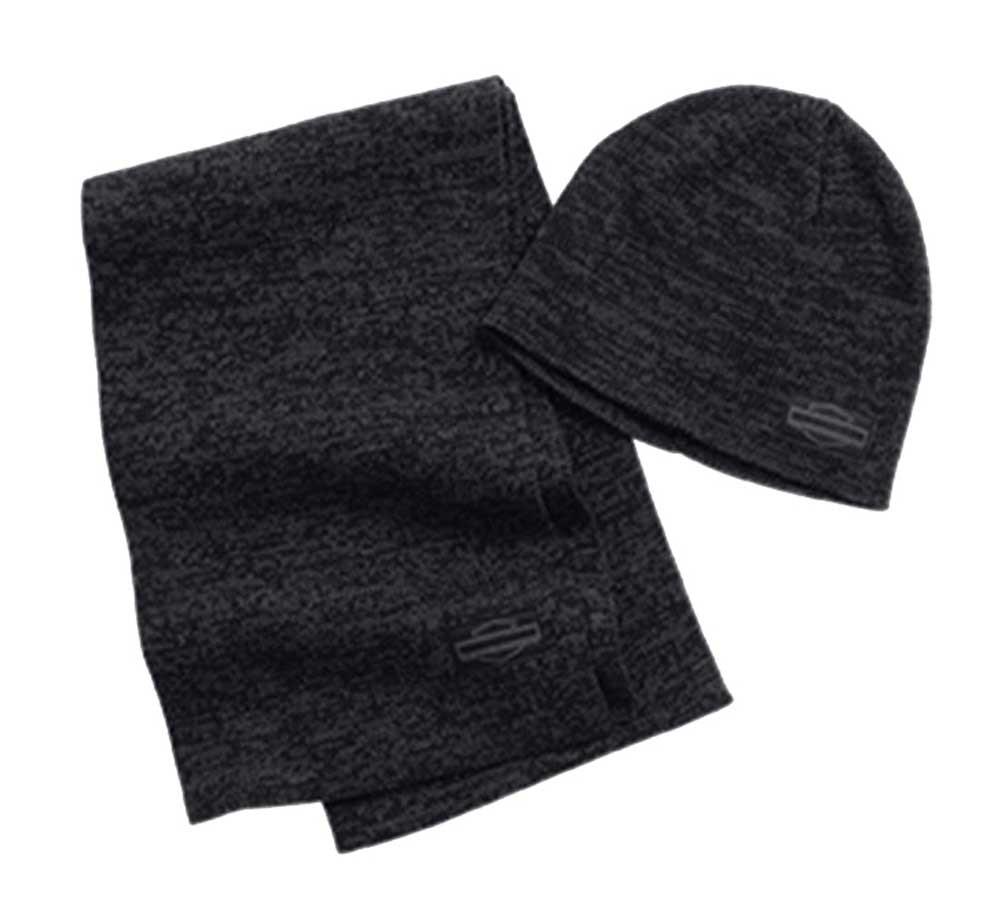 68e67fe0f0eb28 Harley-Davidson Men's Embroidered Bar & Shield Knit Hat & Scarf Set  97643-16VM