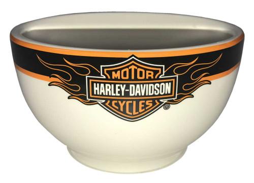 Harley-Davidson Flaming Bar & Shield Ceramic Bowl, 6 inch White HD-FLM-1445 - Wisconsin Harley-Davidson