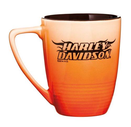 Harley-Davidson Ceramic Coffee Mug, Ombre Flames H-D, 14 oz. Orange 3OFM4909 - Wisconsin Harley-Davidson