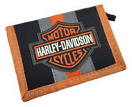 Harley-Davidson Boy's Reflective Bar & Shield Tri-Fold Wallet, Black 7180539 - Wisconsin Harley-Davidson