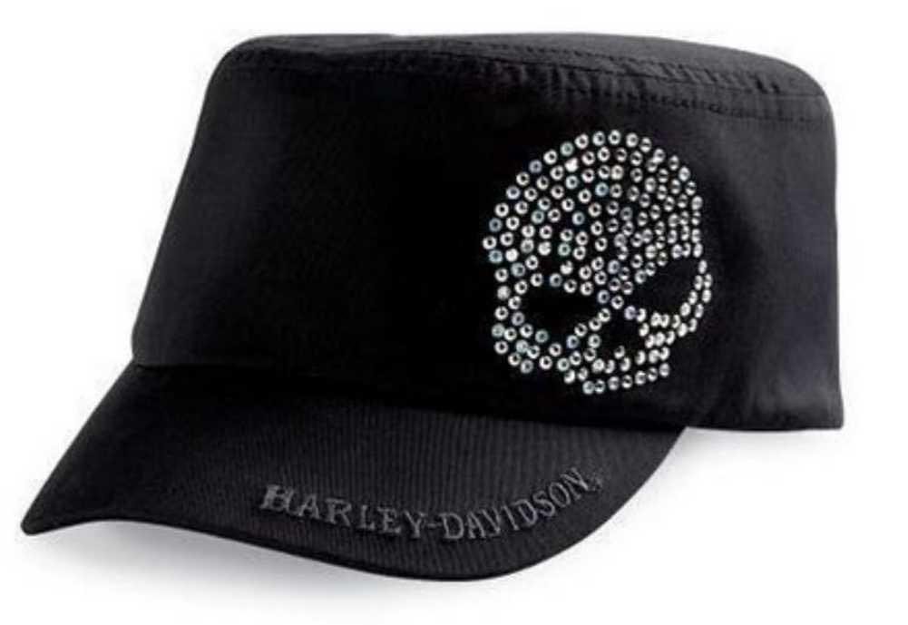 8affe046d8 Harley-Davidson Women's Crystal Skull Flat Top Biker Cap Hat, Black  99402-11VW