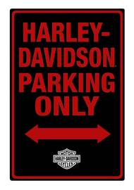 Harley-Davidson Tin Sign, H-D Embossed Parking Only Sign, Black 2010971 - Wisconsin Harley-Davidson