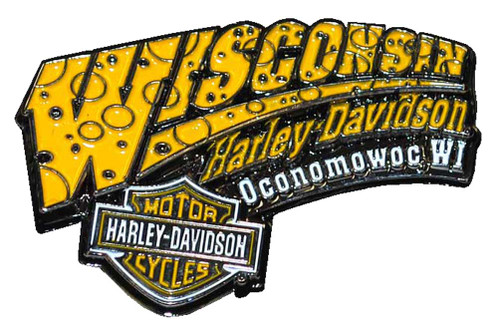 Harley-Davidson Cheese Pin Yellow & White W CHEESE - Wisconsin Harley-Davidson