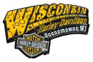 Harley-Davidson Cheese Pin Yellow & White W CHEESE - Wisconsin Harley-Davidson