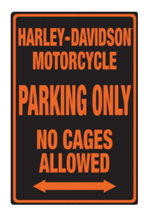 Harley-Davidson Embossed No Cages Packing Tin Sign, 12 x 18 inch 2010691 - Wisconsin Harley-Davidson
