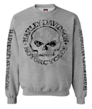 Harley-Davidson Men's Pullover Crew Sweatshirt H-D Willie G Skull Gray 30296655 - Wisconsin Harley-Davidson