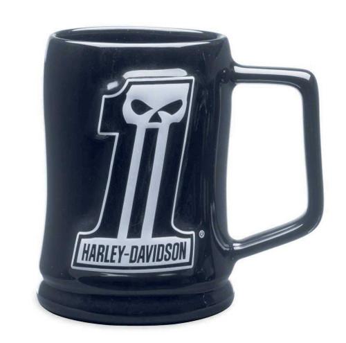 Harley-Davidson #1 Skull Sculpted Ceramic Mug 16 oz, Black Coffee Mug 99219-14V - Wisconsin Harley-Davidson