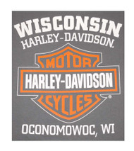 Harley-Davidson Mens Bar & Shield Short Sleeve T-shirt, Charcoal Tee 30291958 - Wisconsin Harley-Davidson