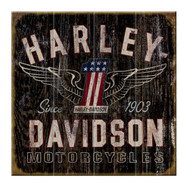 Harley-Davidson Winged #1 Since 1903 Wood Sign, 18 x 18 in W10-HARL-GCGPX12 - Wisconsin Harley-Davidson