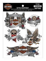 Harley-Davidson Temporary Tattoos, Classic Tattoo Assortment, 4 Colors TT163 - Wisconsin Harley-Davidson