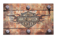 Harley-Davidson Embossed Flames Bar & Shield Entry Floor Mat, Brown 41EM4901 - Wisconsin Harley-Davidson