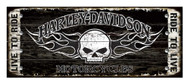 Harley-Davidson 17 x 44 Genuine Willie G Skull Studded Wood Sign W5-SCGPX8-HARL - Wisconsin Harley-Davidson