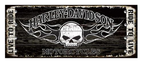 Harley-Davidson 17 x 44 Genuine Willie G Skull Studded Wood Sign W5-SCGPX8-HARL - Wisconsin Harley-Davidson