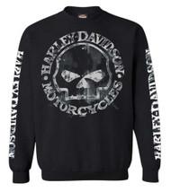 Harley-Davidson Men's Willie G Skull Sweatshirt, Black Crew Pullover 30296649 - Wisconsin Harley-Davidson