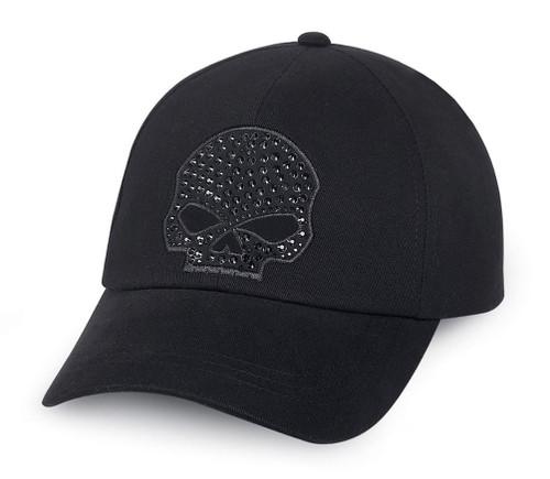 Harley-Davidson Women's Rhinestone Skull Baseball Cap, Black Cotton. 99502-15VW - Wisconsin Harley-Davidson