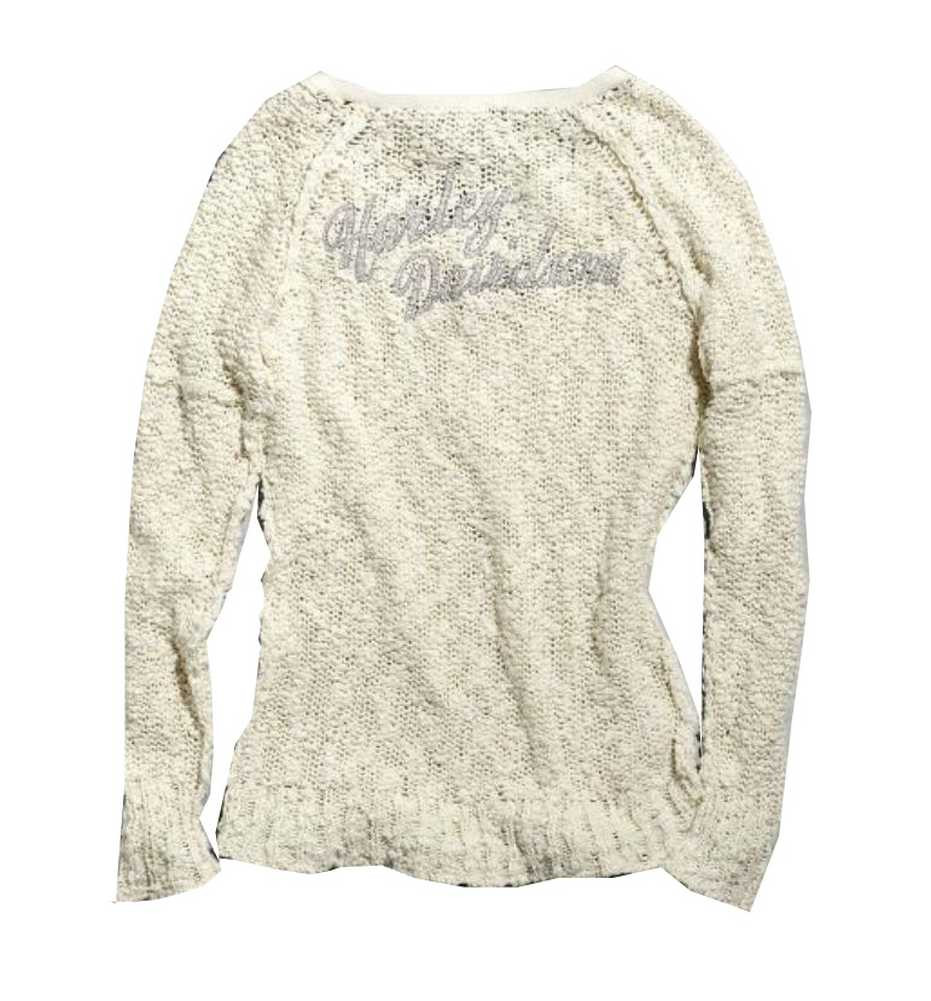 Harley-Davidson® Women s Sweater, Boucle Open Knit Shirt, Off White ... ac8d8050381