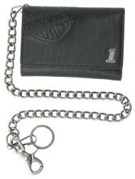 Harley-Davidson Men's Trifold Wallet, Embossed Bar & Shield, Black CR2314L-Black - Wisconsin Harley-Davidson