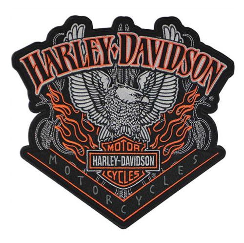 Harley-Davidson Eagle Patch Pinstripes Embroidered Emblem, Org & Black EM118304 - Wisconsin Harley-Davidson