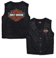 Harley-Davidson Big Boys' Bar & Shield PU Pleather Biker Vest Black 0296072 - Wisconsin Harley-Davidson