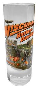 Harley-Davidson Wisconsin Harley-Davidson Dealer Tall Shot Glass, Clear CSHOT - Wisconsin Harley-Davidson