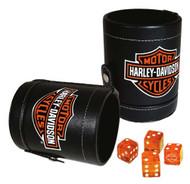 Harley-Davidson Bar & Shield Logo Dice Cup Game Set, Leatherette Cup 651 - Wisconsin Harley-Davidson