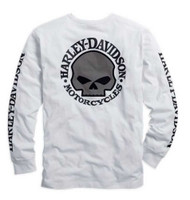 Harley-Davidson Men's Willie G. Skull Long Sleeve Tee White 99092-14VM - Wisconsin Harley-Davidson