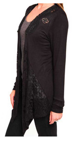 Harley-Davidson Women's Laced Beauty Rhinestone B&S Long Sleeve Cardigan, Black - Wisconsin Harley-Davidson