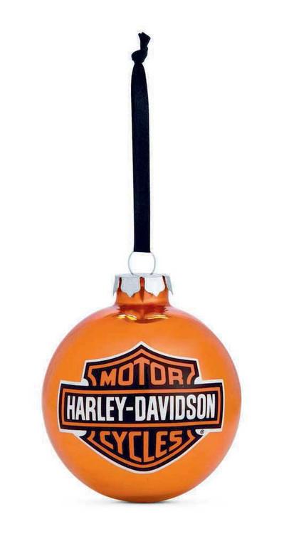 Harley-Davidson Bar & Shield Logo Ball Ornament, Orange Christmas. 99203-14V - Wisconsin Harley-Davidson