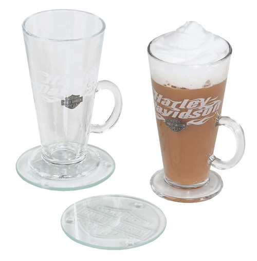 Harley-Davidson Flaming Bar & Shield Irish Coffee Mug Gift Set, 8 oz. HDL-18760 - Wisconsin Harley-Davidson