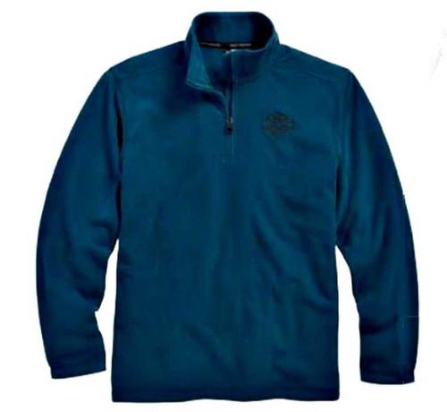 Harley-Davidson 1/4-Zip Brushed Polyester Fleece Pullover, Blue. 96029-16VM - Wisconsin Harley-Davidson