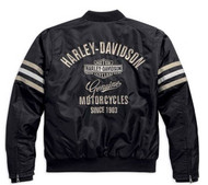 Harley-Davidson Men's Heritage Nylon Bomber Jacket Black/Beige. 98552-15VM - Wisconsin Harley-Davidson