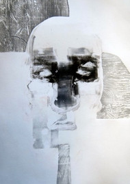 Monoprint and woodcut by Marc Cote, 'White'