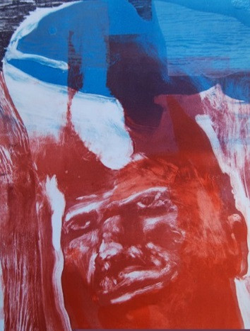 Monoprint and woodcut, 'Red'