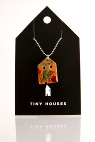 Tiny Houses Enameled Copper Necklace / Farmhouse
