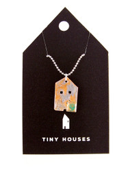 Tiny Houses Enameled Copper Necklace / Gingerbread